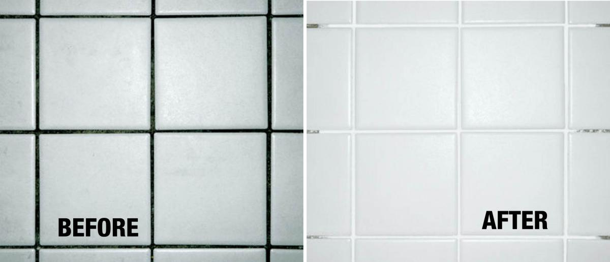 Black Grout Coated With Aqua Mix White Grout Colorant